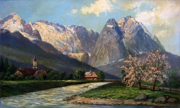 blaetter wetterstein painting oil on canvas