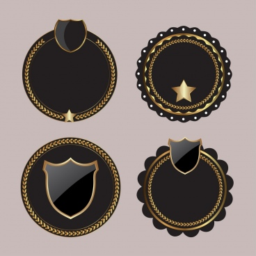 blank badges templates shiny black circles isolation