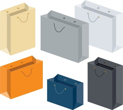 shopping bags icons colored modern 3d design