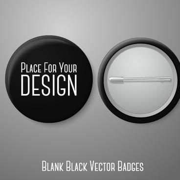 blank black badges design vector
