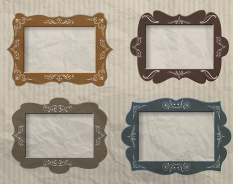 blank colored vintage frames vector illustration