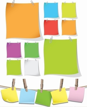 Blank Colorful Papers with Clip Vector Graphic