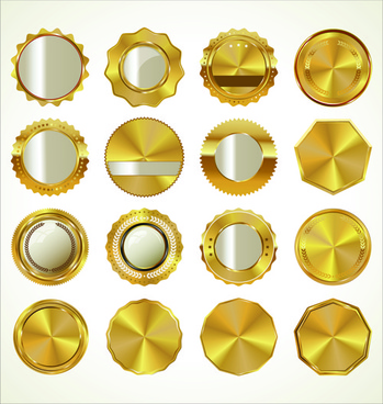 blank gold badges vector