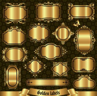 blank golden labels creative vector