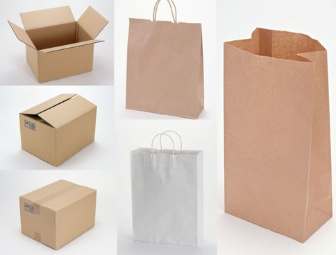 blank green paper bags and corrugated boxes picture