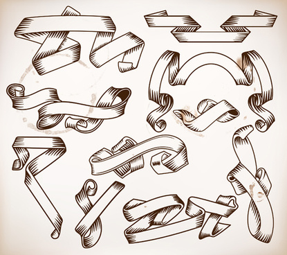blank hand drawn ribbon retro style vector