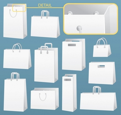 shopping bags icons 3d sketch closeup detailed design