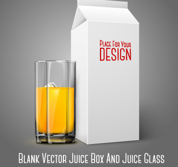 blank juice box and juice cup vector