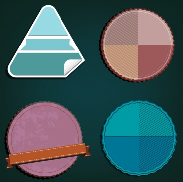 blank labels templates triangle serrated circle decoration