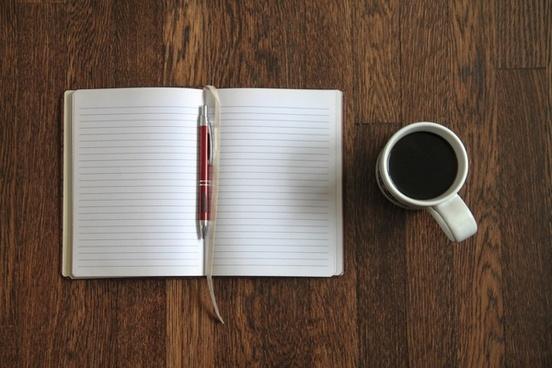 blank open notebook 038 coffee on desk