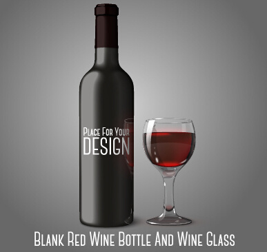 Blank red wine bottle and wine glass vector