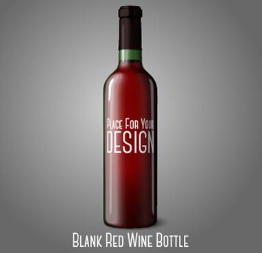 blank red wine bottle vector
