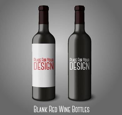 blank red wine bottles vector