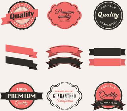 blank ribbon with retro labels vector