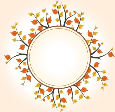 blank round frame yellow autumn leaves decoration