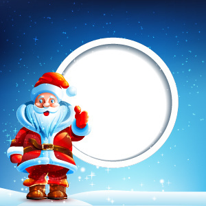 blank round with santa background vector