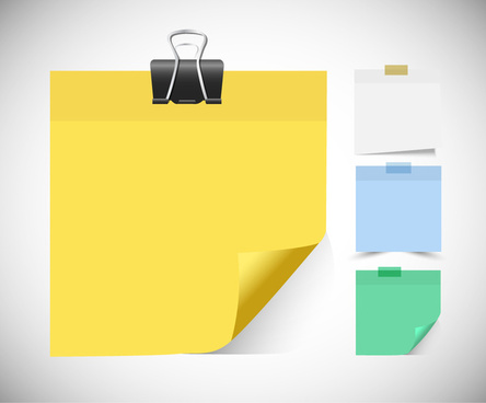 blank sticky memo notes vector illustration