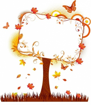 Blank tablet on autumn tree