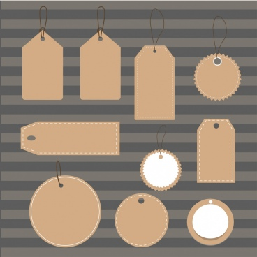 blank tags collection various shapes ornament
