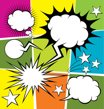 blank text clouds cartoon styles vector