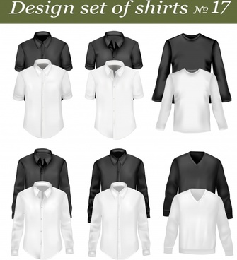 male shirt templates modern black white blank sketch
