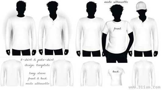men tshirt templates modern blank sketch models icons