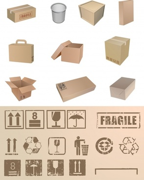 box handle sign templates 3d retro shapes