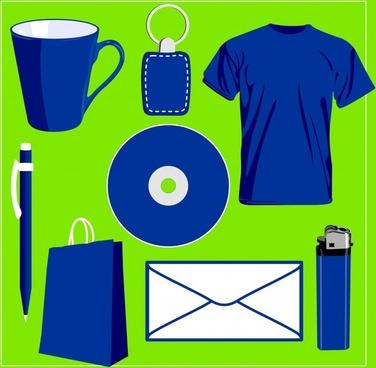 personal belongings icons plain blue design