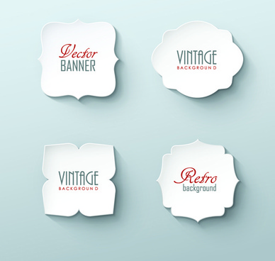 blank white paper labels vector