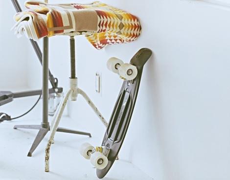 blanket chair fabric pattern rust seat skateboard