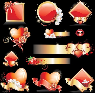 valentines design elements sparkling shiny red symbols decor