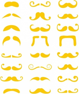 Blond moustache or mustache vector set