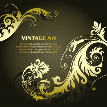 decorative background dark classical elegant curved floral icons