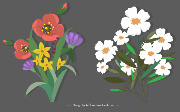blooming botany icons colorful classical sketch