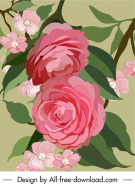 blooming flora painting colorful retro design