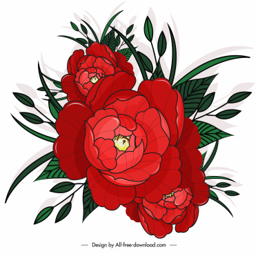 blooming flower painting classical red green sketch
