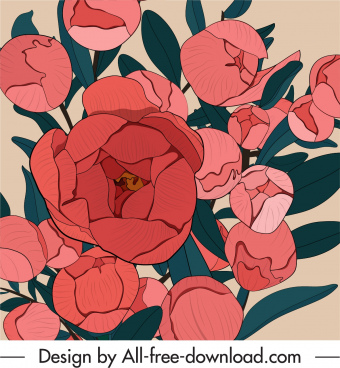 blooming flowers painting colored classic design