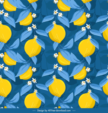 blooming lemon background colorful classic design