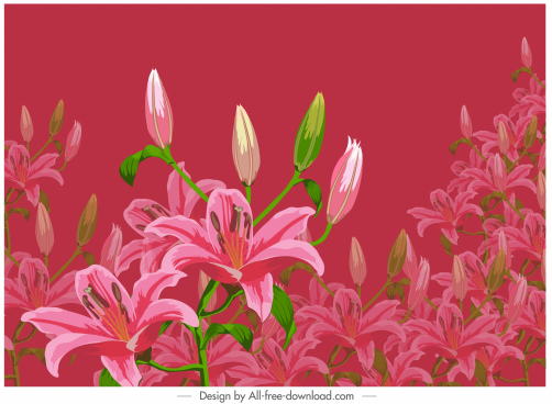 blooming lily painting dark colorful classic decor