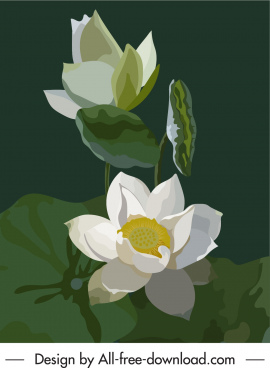 blooming lotus painting dark colored retro design