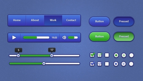 Blue & Green UI Kit