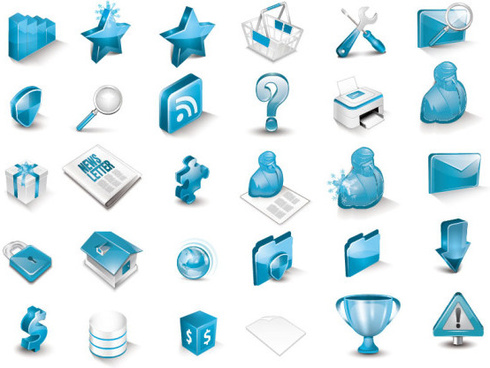 blue 3d icon vector