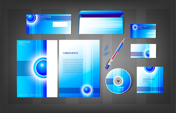 blue abstract corporate identity templates