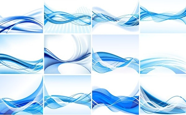 blue abstract background sets swirled waving decoration
