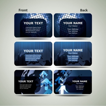 business cards templates modern dark blue global decor