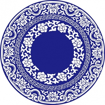 classical oriental circle pattern blue retro seamless decor
