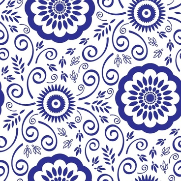decorative pattern classical blue flat flowers sketch
