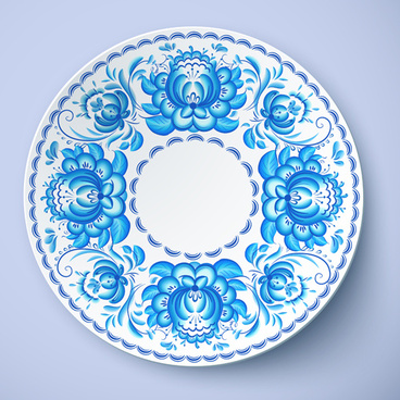 blue and white porcelain creative design vector