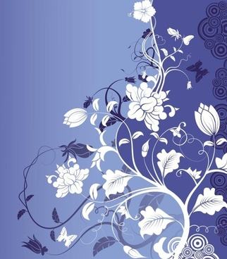 blue background with flower art vector