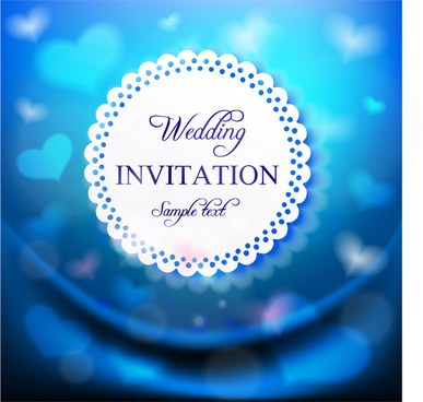 blue background with hearts wedding card